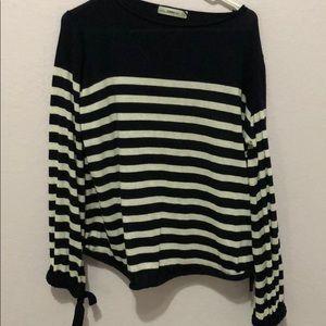Zara navy and white striped top